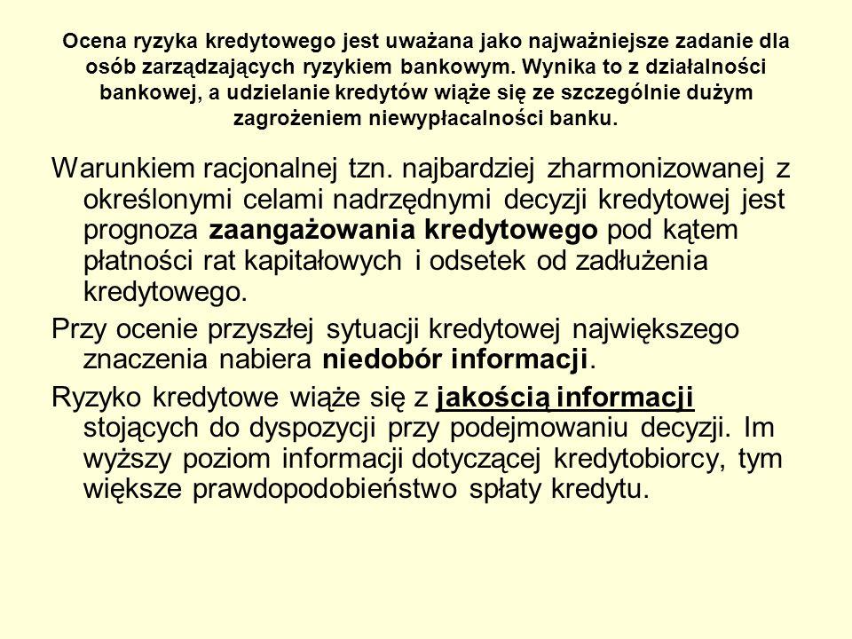 metoda analizy kryterium ryzyka utraty kredytu – stworzone na podstawie powyższej metody na potrzeby banków austriackich: bez widocznego ryzyka utraty kredytu, wymagający uwagi, brzegowa (możliwość utraty kredytu i odsetek), nieściągalne (stracone)