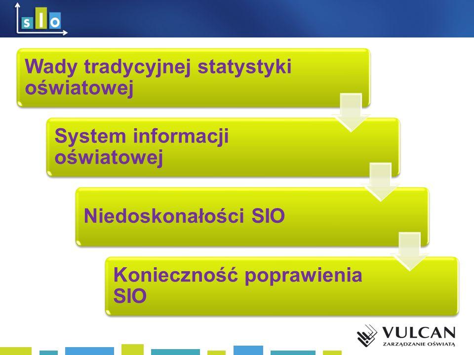 Wady tradycyjnej statystyki oświatowej System informacji oświatowej Niedoskonałości SIO Konieczność poprawienia SIO