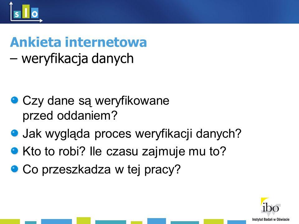 Ankieta internetowa – weryfikacja danych Czy dane są weryfikowane przed oddaniem.