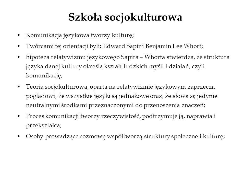 Szkoła socjokulturowa Komunikacja językowa tworzy kulturę; Twórcami tej orientacji byli: Edward Sapir i Benjamin Lee Whort; hipoteza relatywizmu język