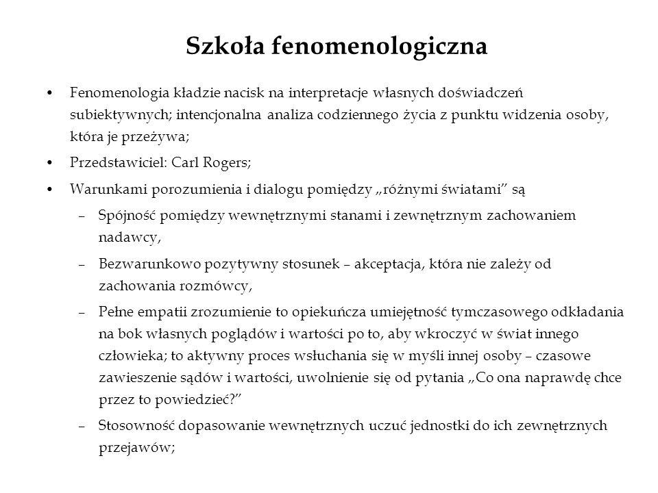 Szkoła fenomenologiczna Fenomenologia kładzie nacisk na interpretacje własnych doświadczeń subiektywnych; intencjonalna analiza codziennego życia z pu