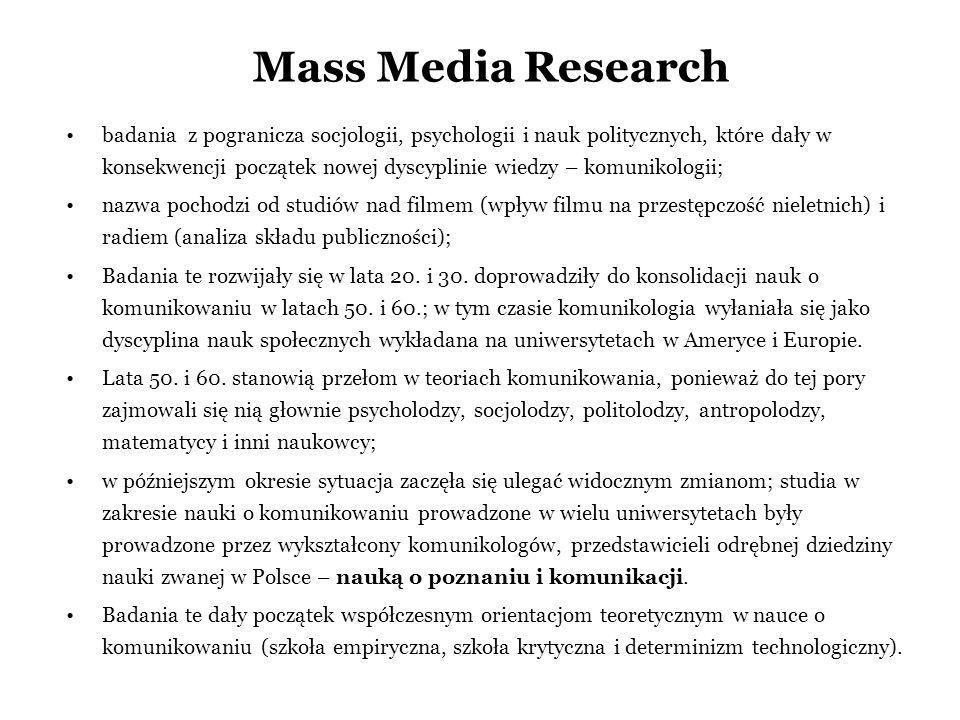 Mass Media Research badania z pogranicza socjologii, psychologii i nauk politycznych, które dały w konsekwencji początek nowej dyscyplinie wiedzy – ko