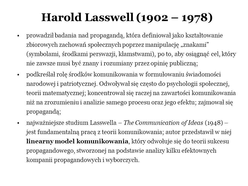 Harold Lasswell (1902 – 1978) prowadził badania nad propagandą, która definiował jako kształtowanie zbiorowych zachowań społecznych poprzez manipulacj