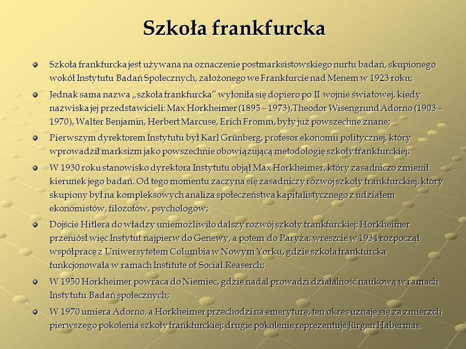 Szkoła frankfurcka Szkoła frankfurcka jest używana na oznaczenie postmarksistowskiego nurtu badań, skupionego wokół Instytutu Badań Społecznych, założ