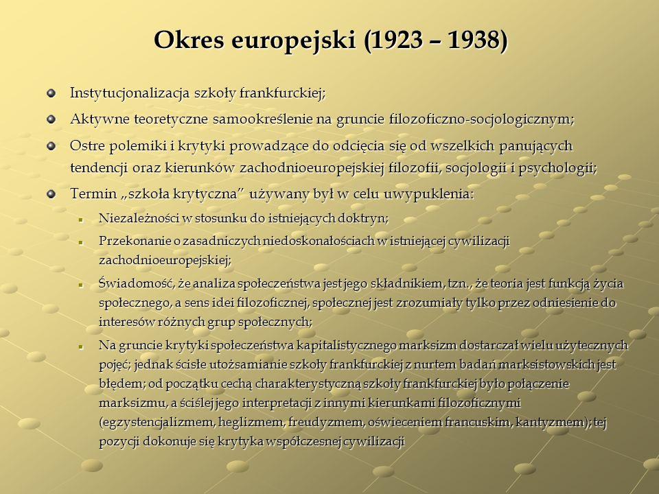 Okres europejski (1923 – 1938) Instytucjonalizacja szkoły frankfurckiej; Aktywne teoretyczne samookreślenie na gruncie filozoficzno-socjologicznym; Os