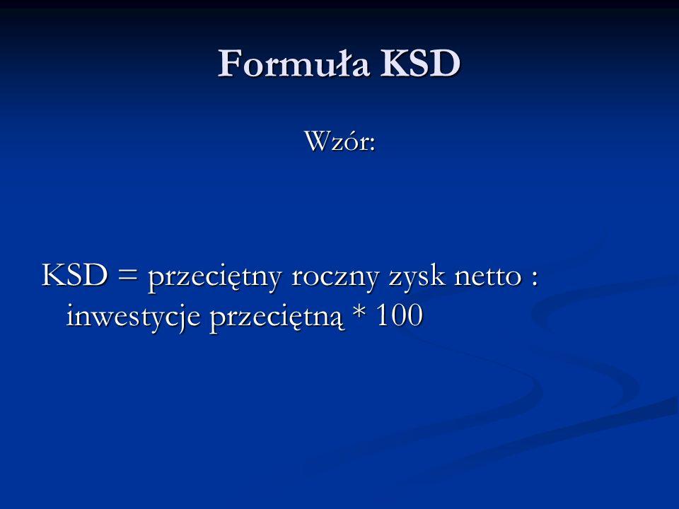 Formuła KSD Wzór: KSD = przeciętny roczny zysk netto : inwestycje przeciętną * 100