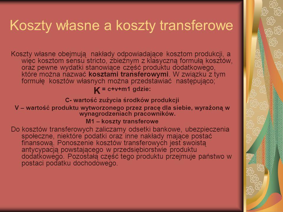Koszty własne a koszty transferowe Koszty własne obejmują nakłady odpowiadające kosztom produkcji, a więc kosztom sensu stricto, zbieżnym z klasyczną