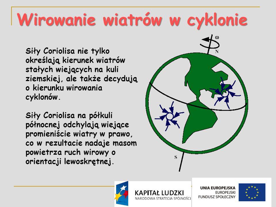 15 Wirowanie wiatrów w cyklonie Siły Coriolisa nie tylko określają kierunek wiatrów stałych wiejących na kuli ziemskiej, ale także decydują o kierunku wirowania cyklonów.