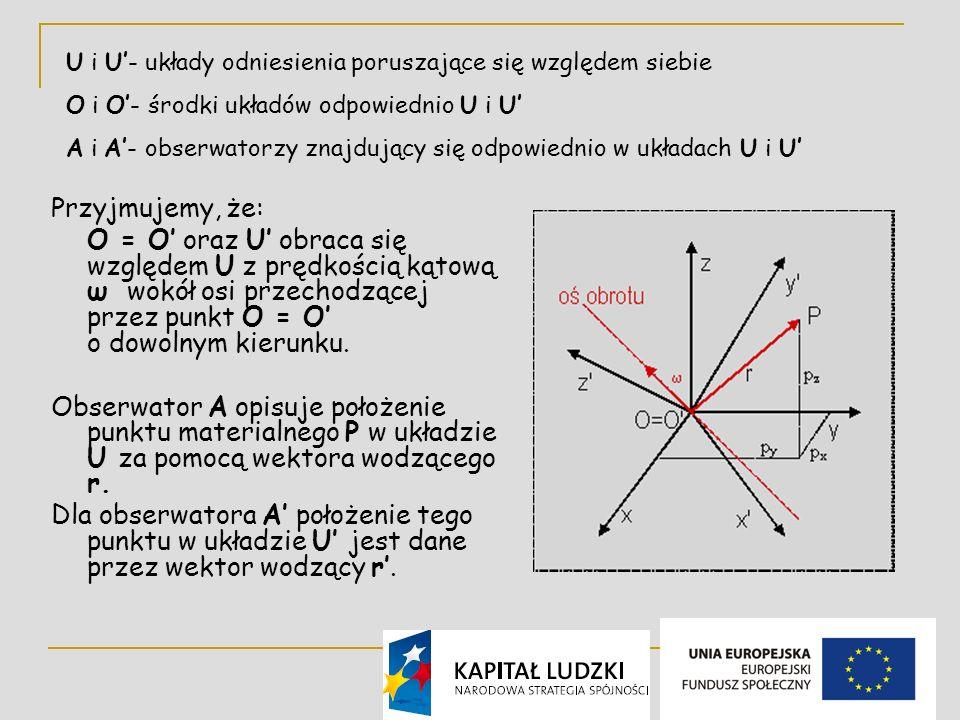 5 Przyjmujemy, że: O = O oraz U obraca się względem U z prędkością kątową ω wokół osi przechodzącej przez punkt O = O o dowolnym kierunku.