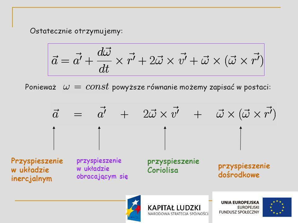9 Ostatecznie otrzymujemy: Ponieważ powyższe równanie możemy zapisać w postaci: przyspieszenie w układzie obracającym się przyspieszenie Coriolisa przyspieszenie dośrodkowe Przyspieszenie w układzie inercjalnym