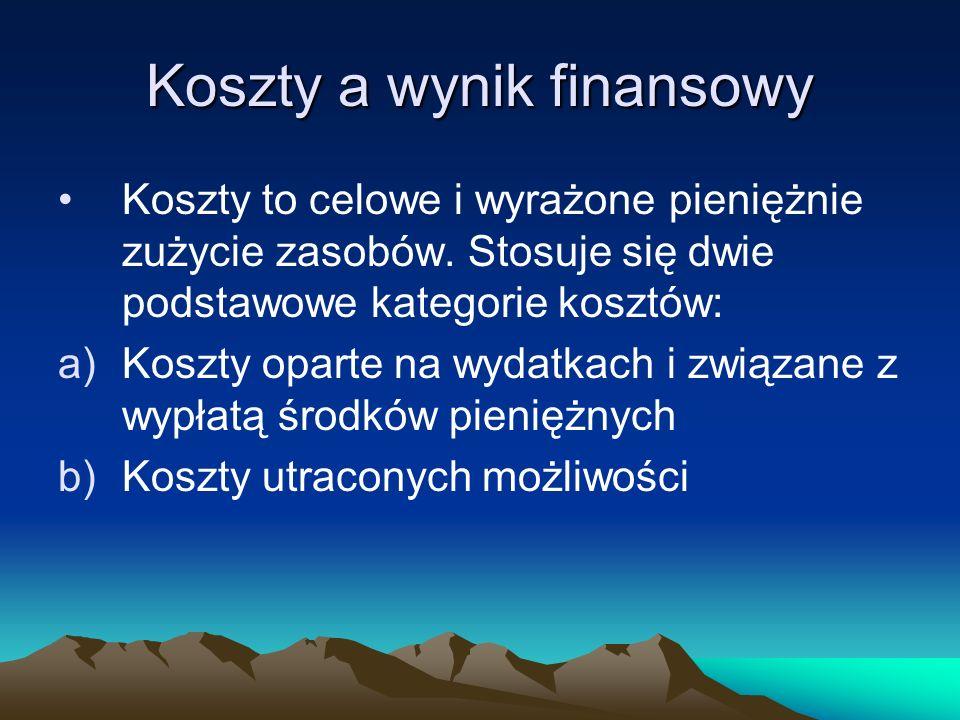 Koszty a wynik finansowy Koszty to celowe i wyrażone pieniężnie zużycie zasobów. Stosuje się dwie podstawowe kategorie kosztów: a)Koszty oparte na wyd