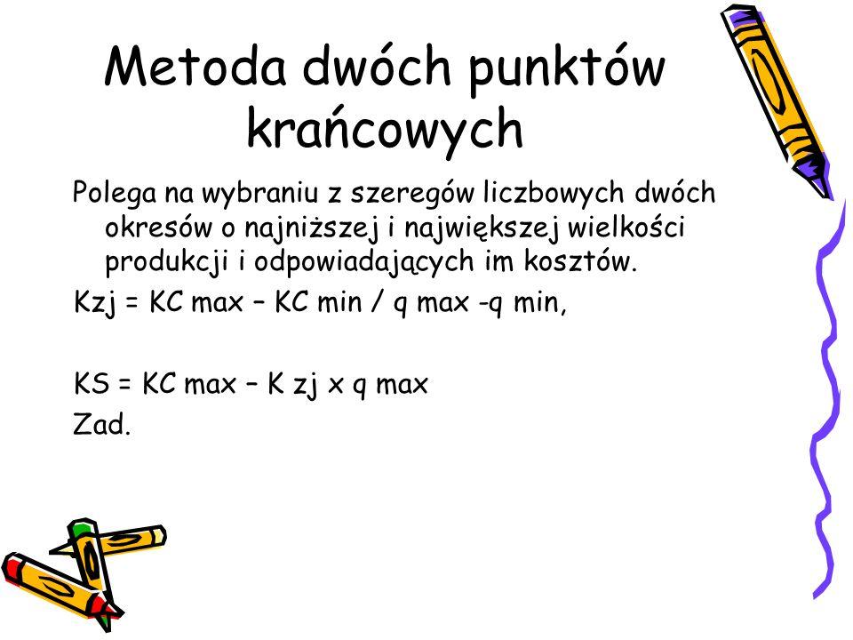 Metoda dwóch punktów krańcowych Polega na wybraniu z szeregów liczbowych dwóch okresów o najniższej i największej wielkości produkcji i odpowiadającyc