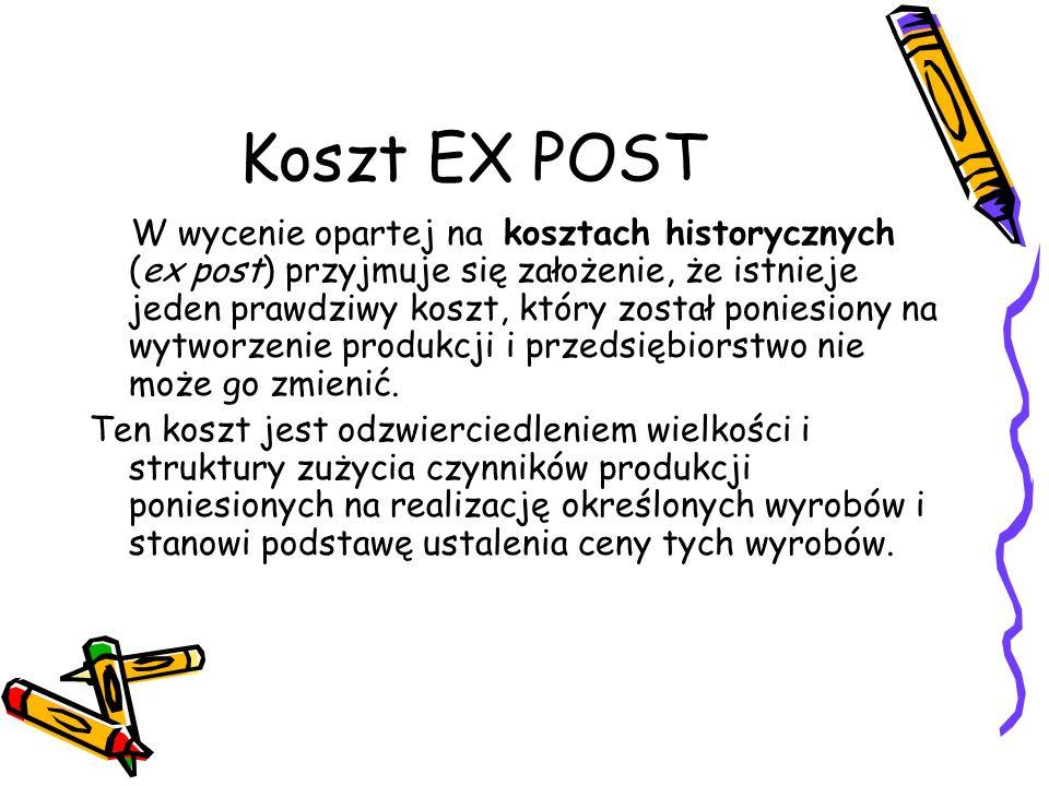 Koszt EX ANTE Wycenie opartej na kosztach przyszłych (ex ante) odnosi się do kosztów planowanych, czyli tych, które będą dopiero poniesione w przedsiębiorstwie.