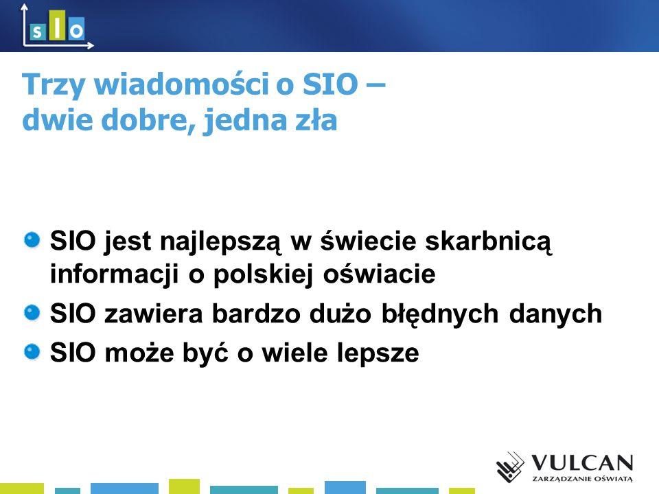 Trzy wiadomości o SIO – dwie dobre, jedna zła SIO jest najlepszą w świecie skarbnicą informacji o polskiej oświacie SIO zawiera bardzo dużo błędnych danych SIO może być o wiele lepsze