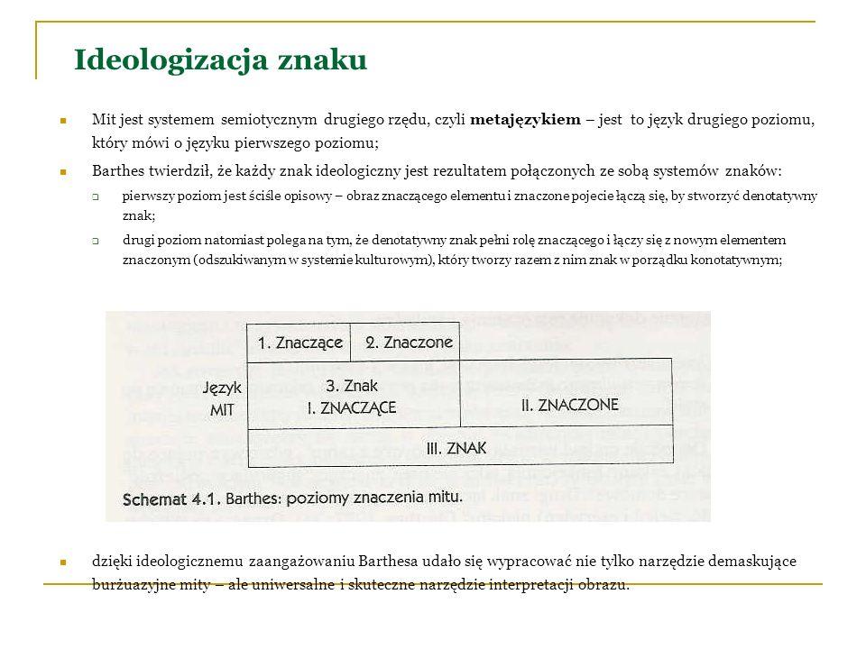Ideologizacja znaku Mit jest systemem semiotycznym drugiego rzędu, czyli metajęzykiem – jest to język drugiego poziomu, który mówi o języku pierwszego