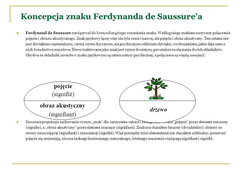 Koncepcja znaku Ferdynanda de Saussurea Ferdynand de Saussure nawiązywał do komunikacyjnego rozumienia znaku. Według niego znakiem nazywany połączenie