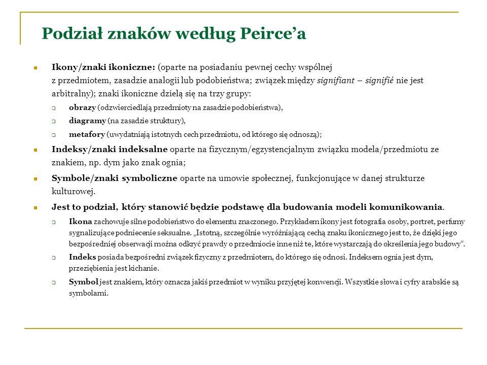 Podział znaków według Peircea Ikony/znaki ikoniczne: (oparte na posiadaniu pewnej cechy wspólnej z przedmiotem, zasadzie analogii lub podobieństwa; zw