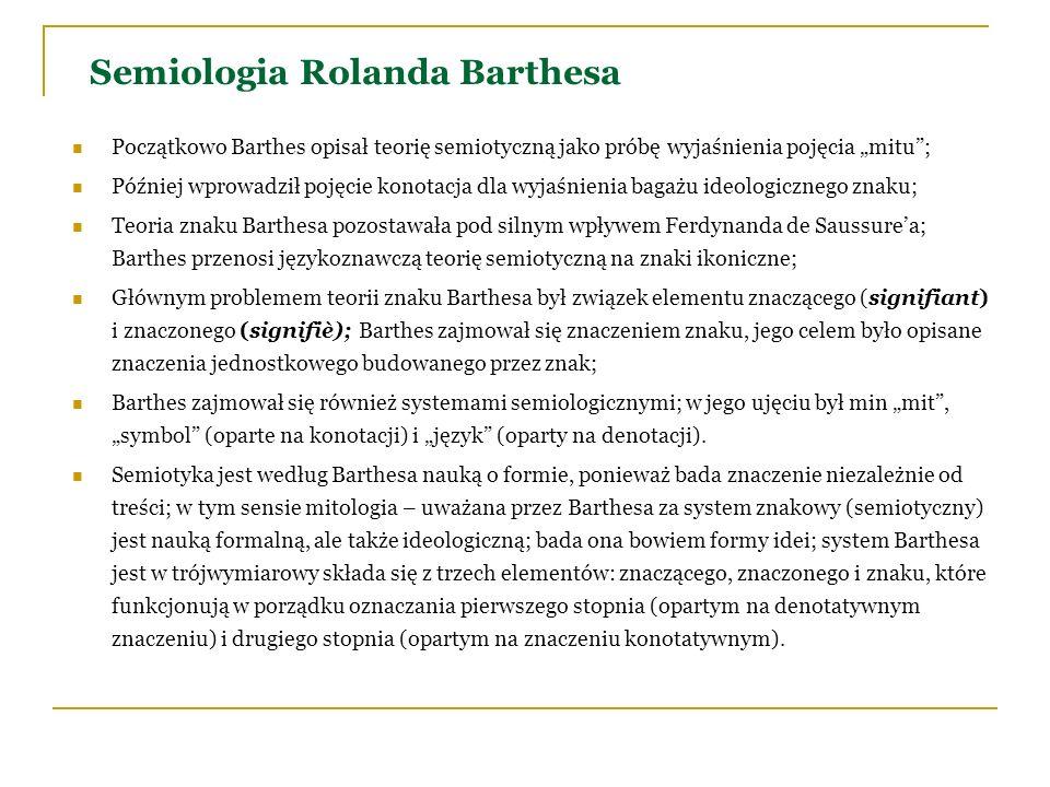Semiologia Rolanda Barthesa Początkowo Barthes opisał teorię semiotyczną jako próbę wyjaśnienia pojęcia mitu; Później wprowadził pojęcie konotacja dla