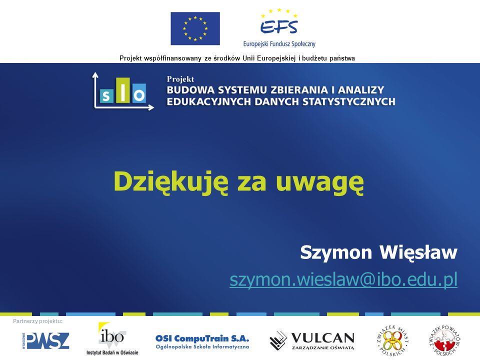 Projekt współfinansowany ze środków Unii Europejskiej i budżetu państwa Partnerzy projektu: Dziękuję za uwagę Szymon Więsław szymon.wieslaw@ibo.edu.pl