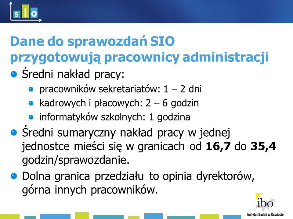 Dane do sprawozdań SIO przygotowują pracownicy administracji Średni nakład pracy: pracowników sekretariatów: 1 – 2 dni kadrowych i płacowych: 2 – 6 go