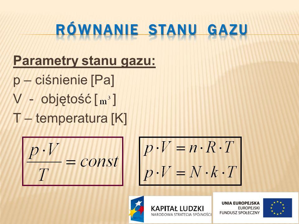 Parametry stanu gazu: p – ciśnienie [Pa] V - objętość [ ] T – temperatura [K]