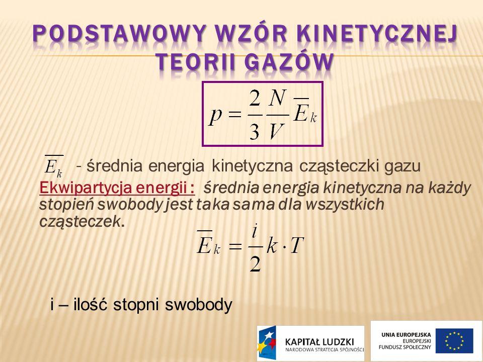 - średnia energia kinetyczna cząsteczki gazu Ekwipartycja energii : średnia energia kinetyczna na każdy stopień swobody jest taka sama dla wszystkich
