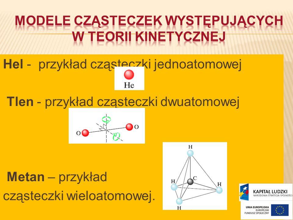 Hel - przykład cząsteczki jednoatomowej Tlen - przykład cząsteczki dwuatomowej Metan – przykład cząsteczki wieloatomowej.