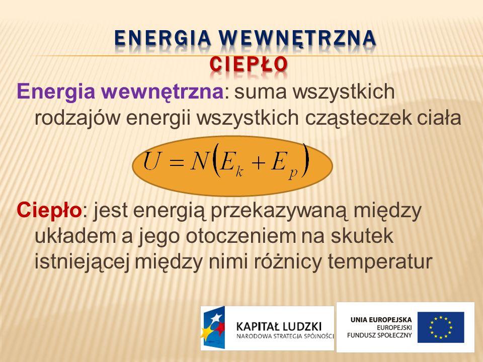 Energia wewnętrzna: suma wszystkich rodzajów energii wszystkich cząsteczek ciała Ciepło: jest energią przekazywaną między układem a jego otoczeniem na