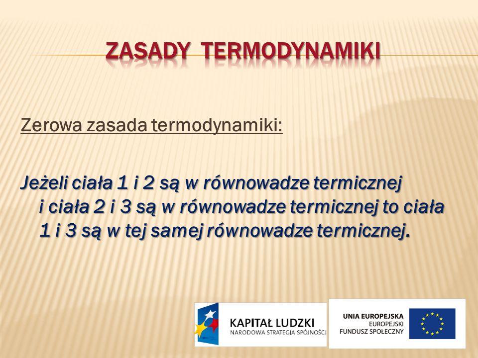 Zerowa zasada termodynamiki: Jeżeli ciała 1 i 2 są w równowadze termicznej i ciała 2 i 3 są w równowadze termicznej to ciała 1 i 3 są w tej samej równ