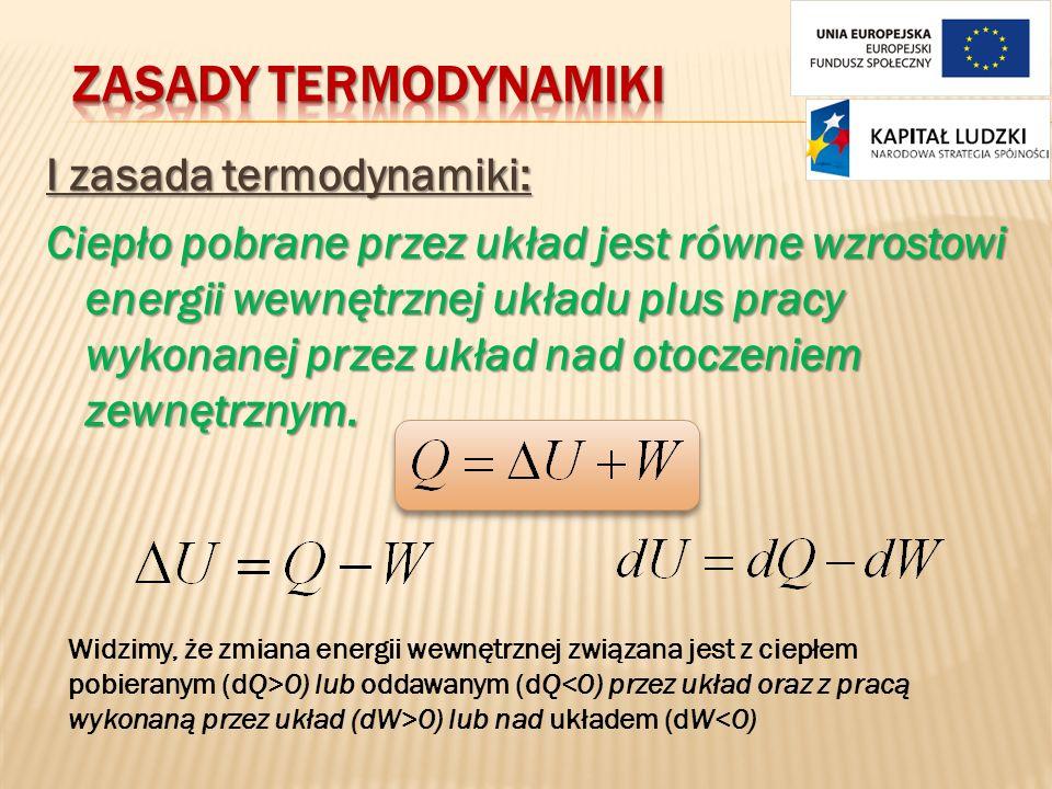 I zasada termodynamiki: Ciepło pobrane przez układ jest równe wzrostowi energii wewnętrznej układu plus pracy wykonanej przez układ nad otoczeniem zew