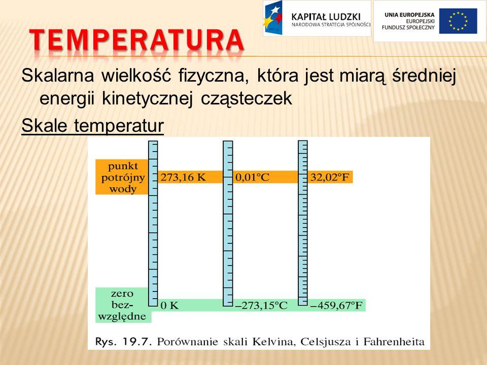 Skalarna wielkość fizyczna, która jest miarą średniej energii kinetycznej cząsteczek Skale temperatur