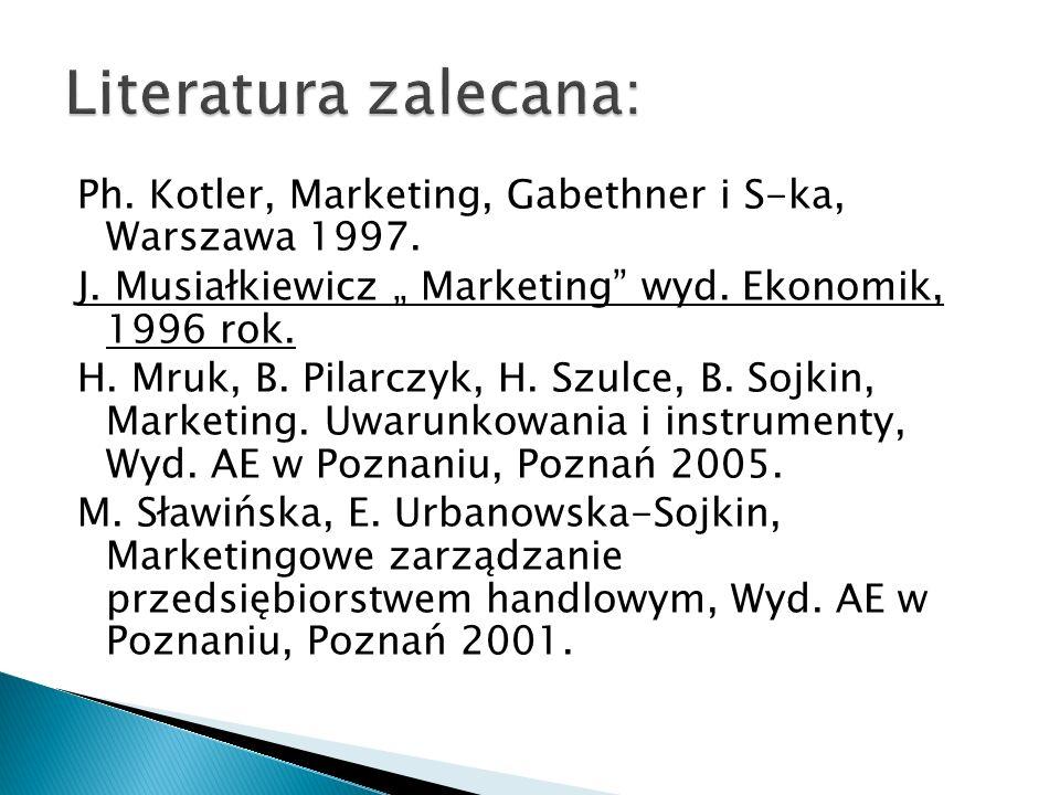 Ph. Kotler, Marketing, Gabethner i S-ka, Warszawa 1997. J. Musiałkiewicz Marketing wyd. Ekonomik, 1996 rok. H. Mruk, B. Pilarczyk, H. Szulce, B. Sojki