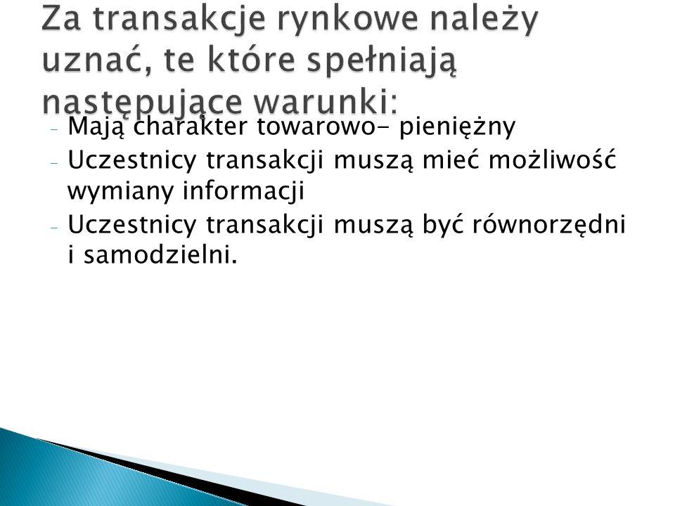- Mają charakter towarowo- pieniężny - Uczestnicy transakcji muszą mieć możliwość wymiany informacji - Uczestnicy transakcji muszą być równorzędni i s