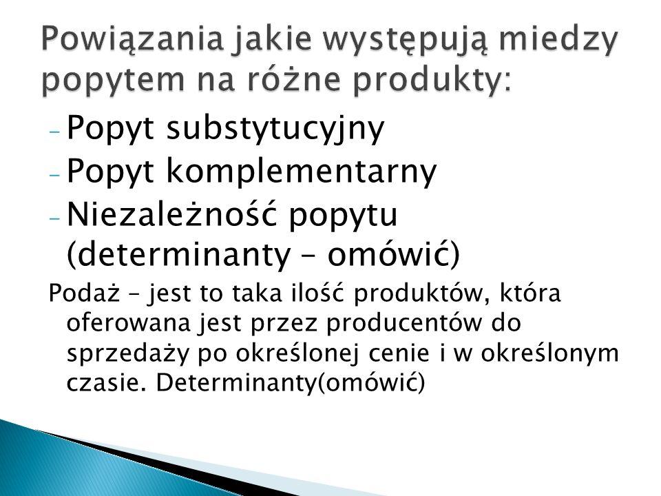 - Popyt substytucyjny - Popyt komplementarny - Niezależność popytu (determinanty – omówić) Podaż – jest to taka ilość produktów, która oferowana jest
