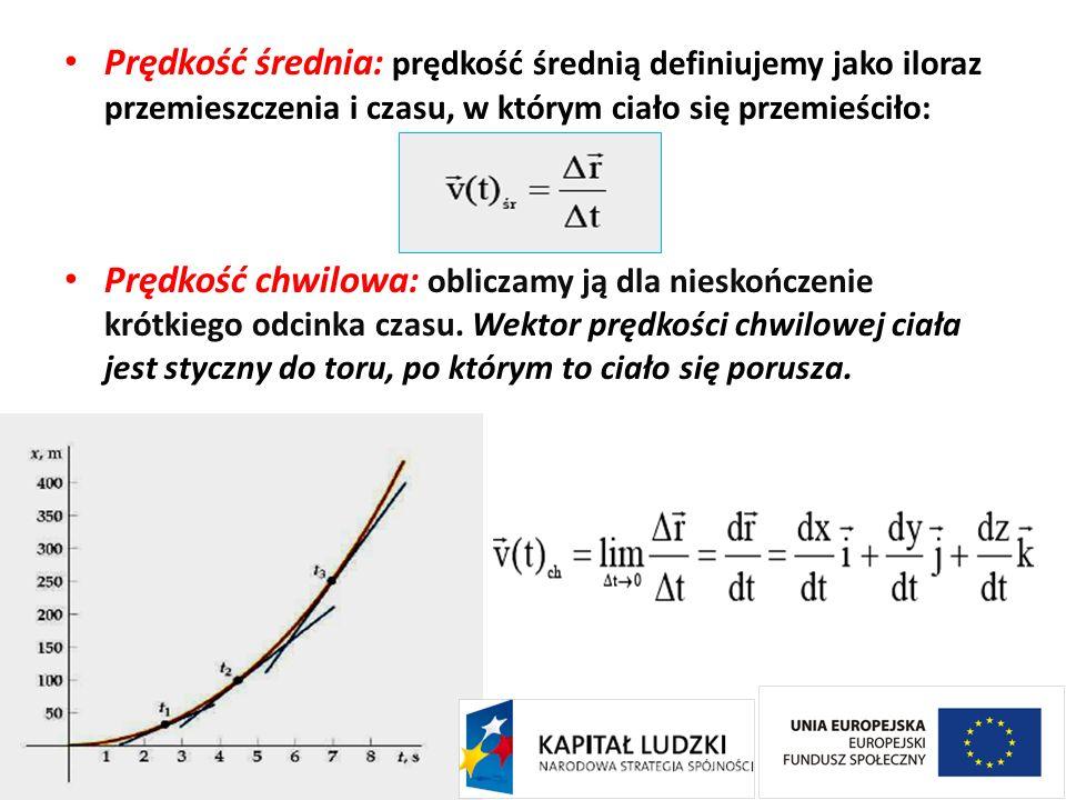 Prędkość średnia: prędkość średnią definiujemy jako iloraz przemieszczenia i czasu, w którym ciało się przemieściło: Prędkość chwilowa: obliczamy ją d