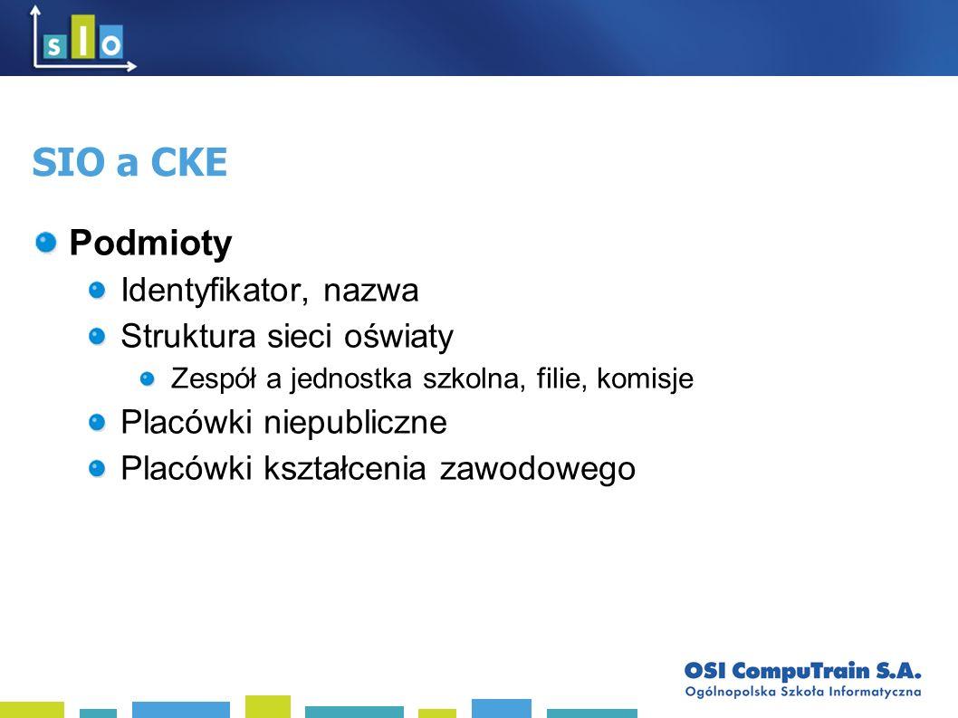 SIO a CKE Podmioty Identyfikator, nazwa Struktura sieci oświaty Zespół a jednostka szkolna, filie, komisje Placówki niepubliczne Placówki kształcenia zawodowego