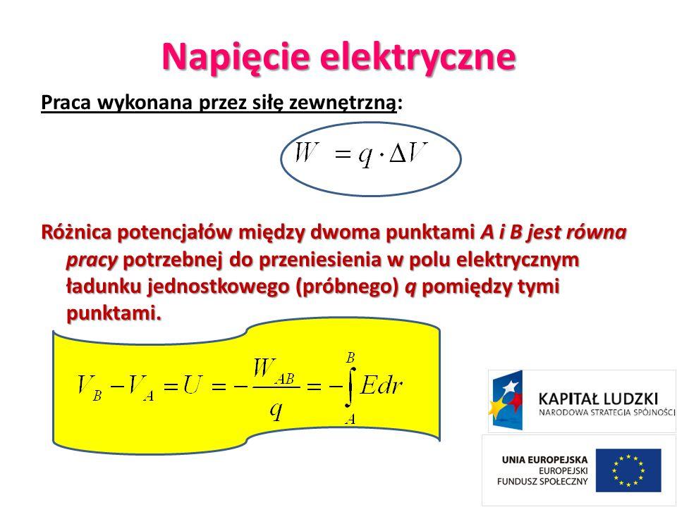 Napięcie elektryczne Praca wykonana przez siłę zewnętrzną: Różnica potencjałów między dwoma punktami A i B jest równa pracy potrzebnej do przeniesieni