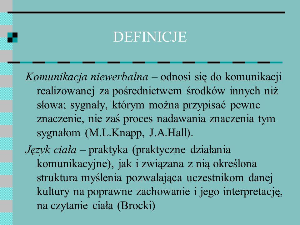 DEFINICJE Komunikacja niewerbalna – odnosi się do komunikacji realizowanej za pośrednictwem środków innych niż słowa; sygnały, którym można przypisać