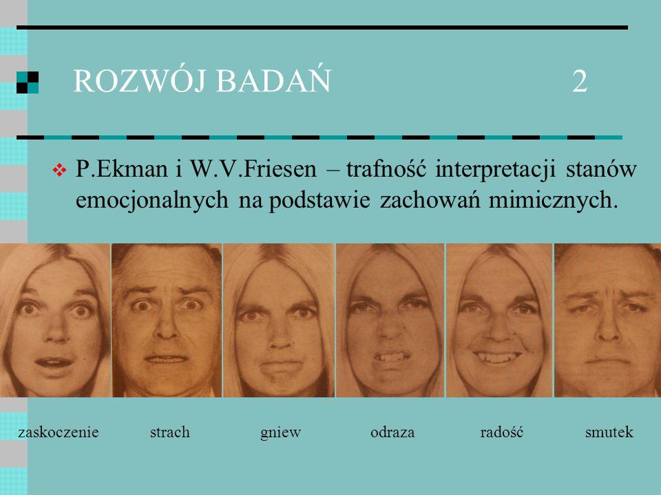 ROZWÓJ BADAŃ 2 P.Ekman i W.V.Friesen – trafność interpretacji stanów emocjonalnych na podstawie zachowań mimicznych. zaskoczeniestrachodrazagniew rado