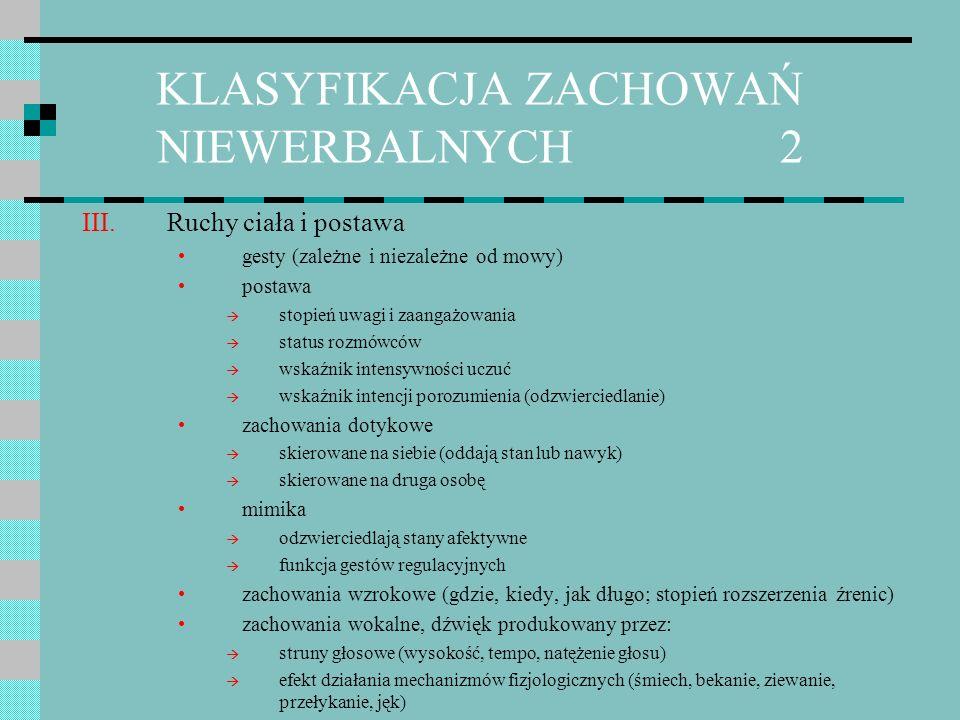 KLASYFIKACJA ZACHOWAŃ NIEWERBALNYCH 2 III.Ruchy ciała i postawa gesty (zależne i niezależne od mowy) postawa stopień uwagi i zaangażowania status rozm
