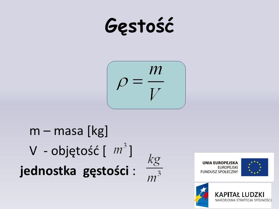 Gęstość m – masa [kg] V - objętość [ ] jednostka gęstości :