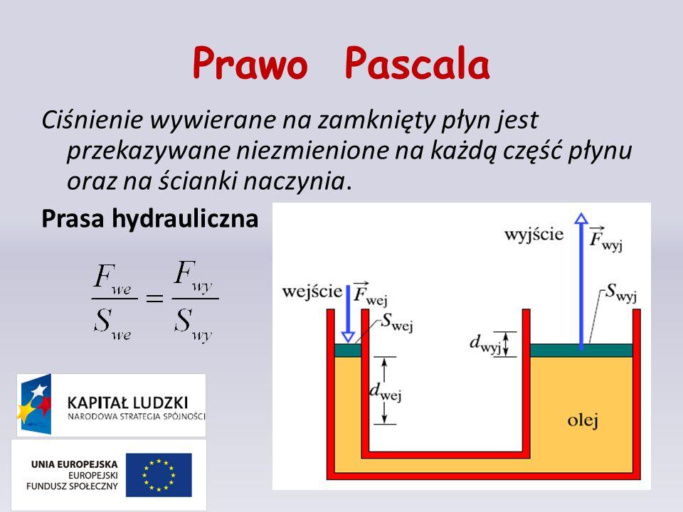Prawo Pascala Ciśnienie wywierane na zamknięty płyn jest przekazywane niezmienione na każdą część płynu oraz na ścianki naczynia. Prasa hydrauliczna