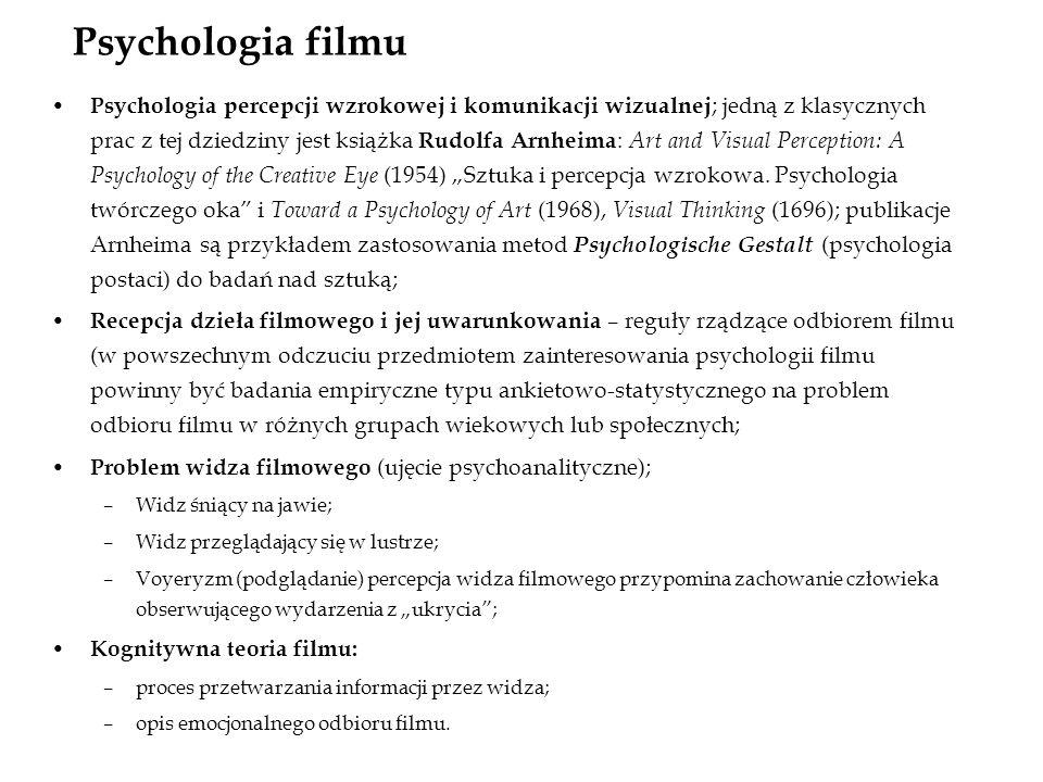 Psychologia filmu Psychologia percepcji wzrokowej i komunikacji wizualnej ; jedną z klasycznych prac z tej dziedziny jest książka Rudolfa Arnheima : A