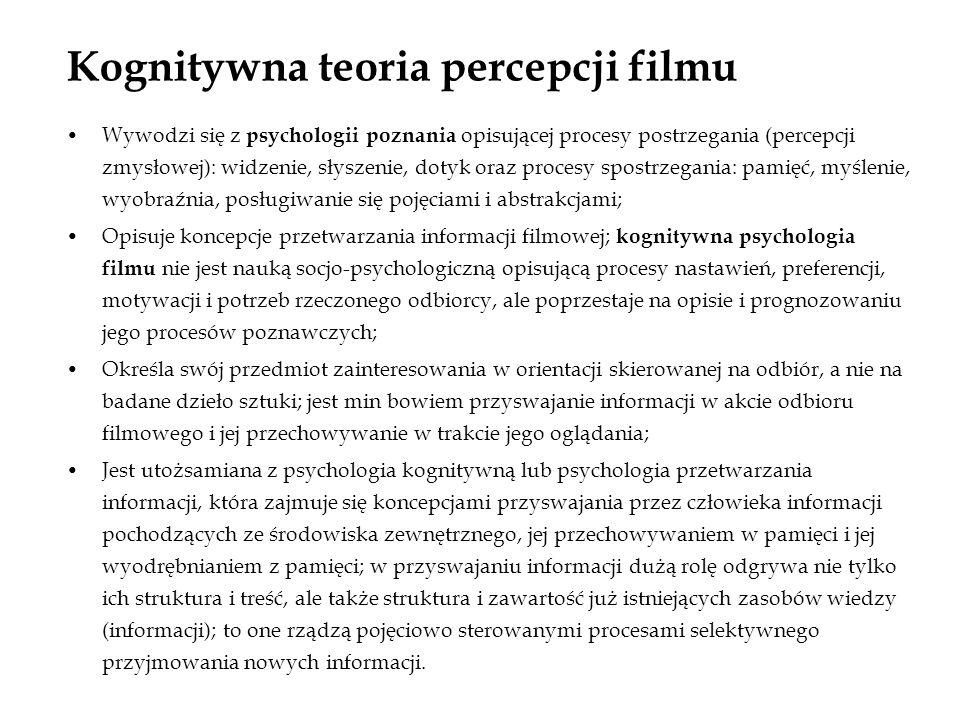 Kognitywna teoria percepcji filmu Wywodzi się z psychologii poznania opisującej procesy postrzegania (percepcji zmysłowej): widzenie, słyszenie, dotyk