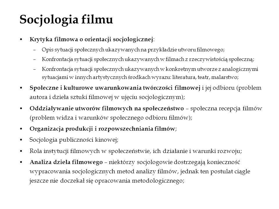 Socjologia filmu Krytyka filmowa o orientacji socjologicznej : –Opis sytuacji społecznych ukazywanych na przykładzie utworu filmowego; –Konfrontacja s