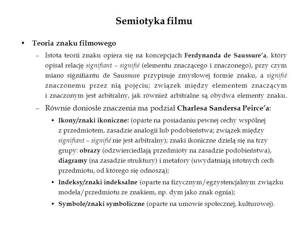 Semiotyka filmu Teoria znaku filmowego –Istota teorii znaku opiera się na koncepcjach Ferdynanda de Saussurea, który opisał relację signifiant – signi