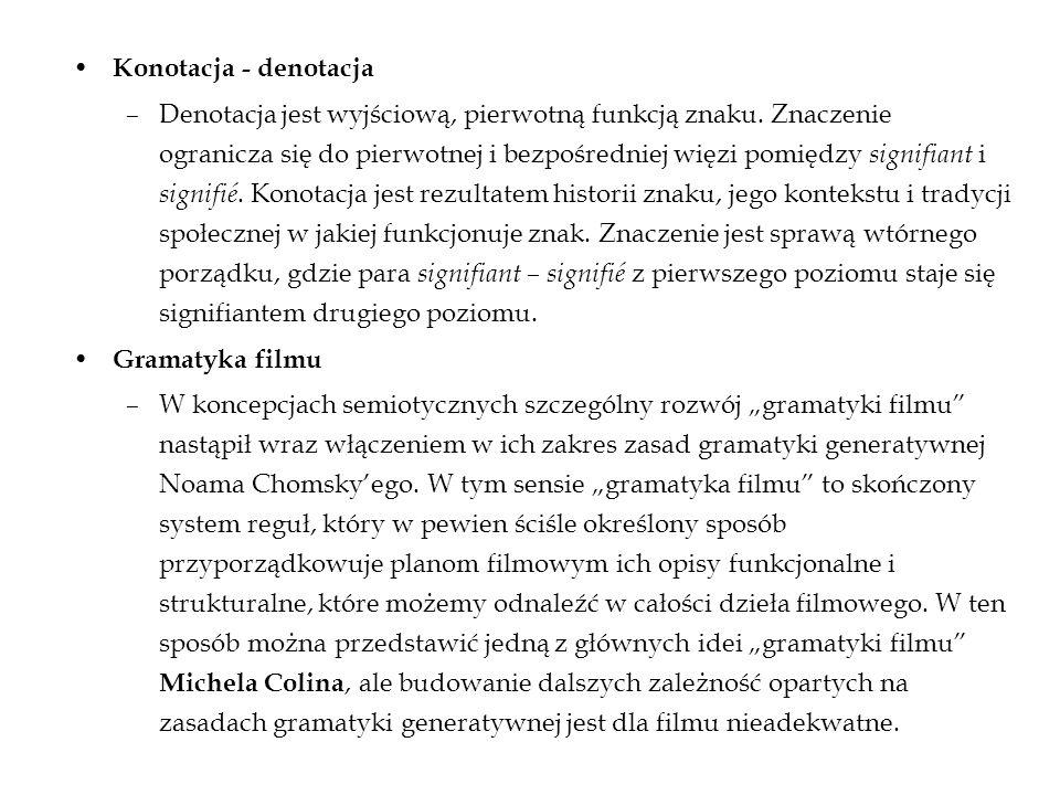 Konotacja - denotacja –Denotacja jest wyjściową, pierwotną funkcją znaku. Znaczenie ogranicza się do pierwotnej i bezpośredniej więzi pomiędzy signifi