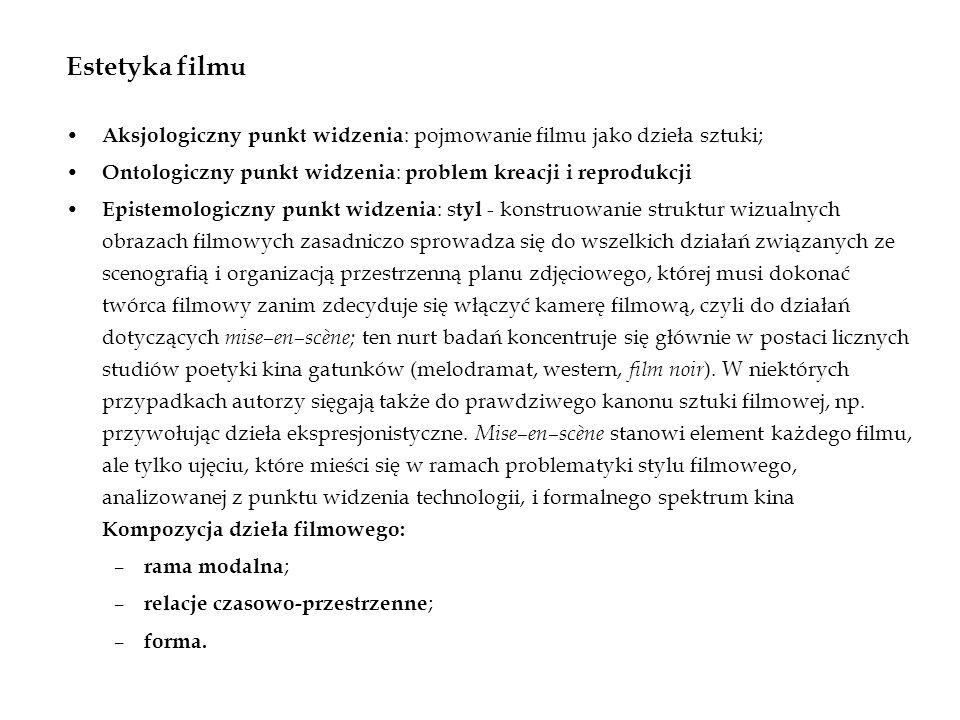 Estetyka filmu Aksjologiczny punkt widzenia : pojmowanie filmu jako dzieła sztuki; Ontologiczny punkt widzenia : problem kreacji i reprodukcji Epistem