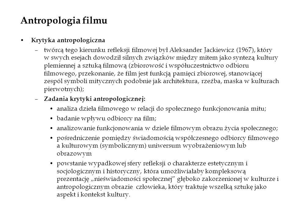 Antropologia filmu Krytyka antropologiczna –twórcą tego kierunku refleksji filmowej był Aleksander Jackiewicz (1967), który w swych esejach dowodził s