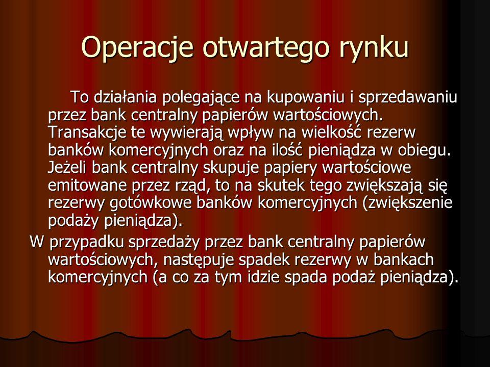 Operacje otwartego rynku To działania polegające na kupowaniu i sprzedawaniu przez bank centralny papierów wartościowych. Transakcje te wywierają wpły